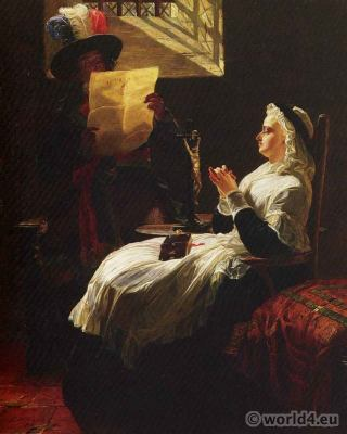 Marie Antoinette Listening to the Act of Accusation. French Revolution history costumes