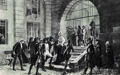 Prisoner Marie Antoinette arrives at Conciergerie. French Revolution history. Directoire costumes