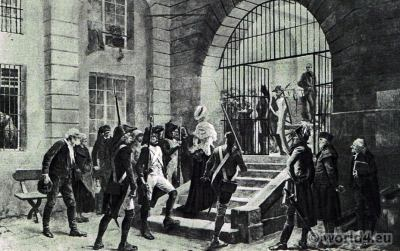 Prisoner Marie Antoinette arrives at Conciergerie. French Revolution history. Directoire costumes