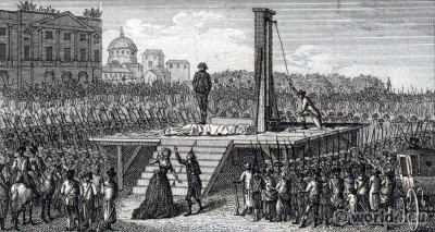 The Execution of Marie Antoinette by Gabrielli. French Revolution history. Directoire costumes