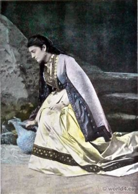Traditional Georgian dress. Megrelian woman costume