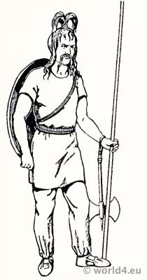 Costume Merovingian, Frankish warrior 4th century.
