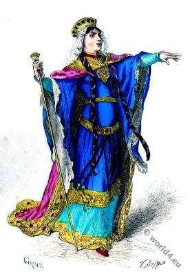 Princess, Merovingian, Costume History. 5th century clothing