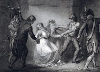 Princess Élisabeth of France at conciergerie. French Revolution History. Marie-Thérèse. 18th century costumes
