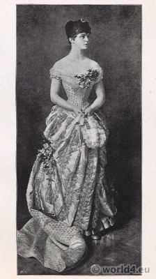 Princess Elvira of Bavaria in belle époque ball robe. Parisian Tournure costume.