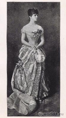 Princess Elvira of Bavaria in belle époque ball robe. Parisian Tournure costume.