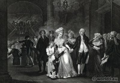 Separation of Louis XVI of his family. French Revolution History Costumes