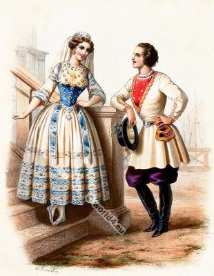 Traditional Finland costumes. Finland national folk costume.
