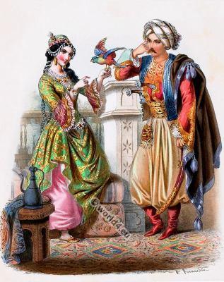 Turkey costumes. Ottoman Empire. National Costumes. Traditional Turkish national folk costume.