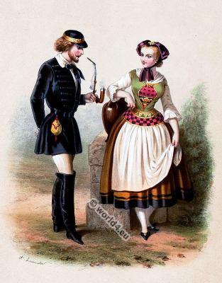 Costumes, Historic, German Biedermeier, period, fashion, 19th century,