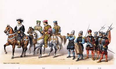 16th century military costumes. Claude de Silly, marshal of the Emperor Charles V. Renaissance fashion period.