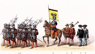 Renaissance 16th century military costumes. Mayor of Nijmegen. Emperor Charles V.