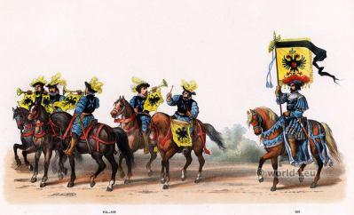 Banner carrier of the German Empire. Emperor Charles V. Renaissance fashion period. 16th century military uniforms. Dutch War.