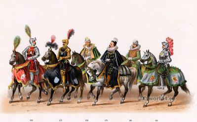Order of the golden Fleece costumes. Renaissance fashion period. 16th century military uniforms. Dutch War.