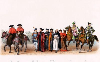 Bishop of Atrecht. Emperor Charles V. Renaissance fashion period. 16th century military uniforms. Dutch War.