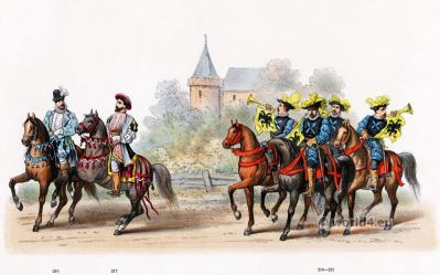 Order of the Golden Fleece. Emperor Charles V. Renaissance fashion period. 16th century military uniforms. Dutch War.