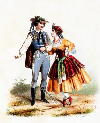 Costumes Hongrois. Alexandre Lacauchie. Les nations. Album des Costumes De Tous les Pays.