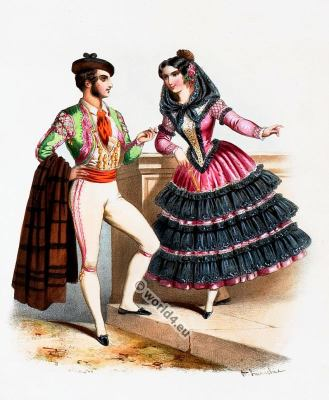 Traditional Spain costumes. Spanish national folk costume.
