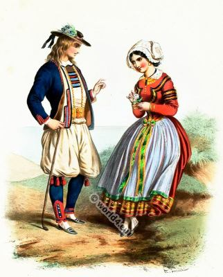 Traditional Brittany costumes. French national folk costume.
