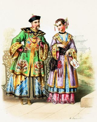 Traditional nobility costumes from China 1850s. China national costume