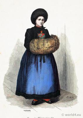 Traditional Austria national costume. Montafun, Vorarlberg woman folk dress. Franz Lipperheide