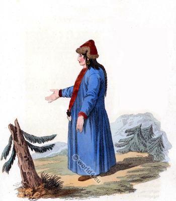 Dress of the Barabintzians and the Baschkirians. Russia folk dress. Traditional Russian national costume