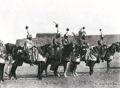 African warriors costumes. Bodyguards of Sultan Sanda of Bornu, Dikwa.