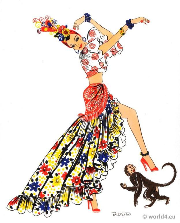 Cuban rumba costume. Latin american folk dress.