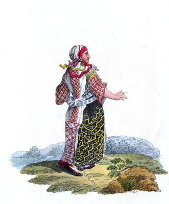 Traditional Finland national costume. Scandinavian folk dress