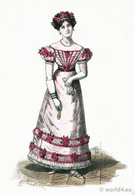 French second empire fashion. Parisian Ball Gown. Franz Lipperheide