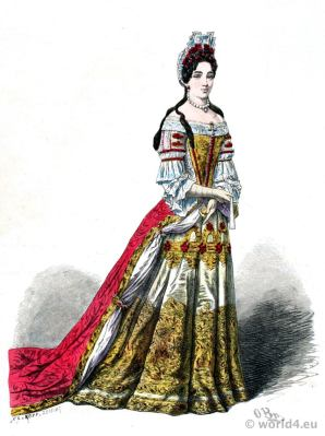 Louis XIV court dress. French aristocracy baroque costume. 17th century clothing.