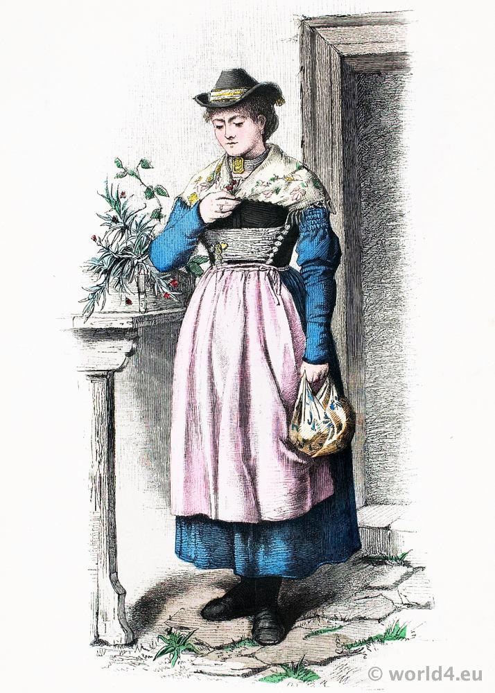 Traditional German national costume. Bavaria folk dress. Franz Lipperheide