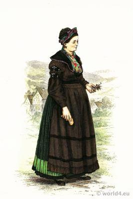 Traditional German national costume. Girl in folk dress from Brotterode, Thuringia. Franz Lipperheide