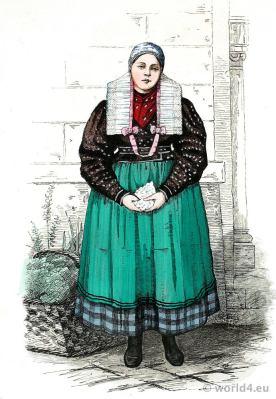 Peasant girl dress. Traditional Germany Silesia traditional national costume. Franz Lipperheide