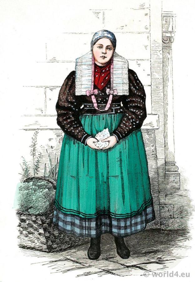 Silesia, Peasant, girl, dress, costume, Neisse, Germany