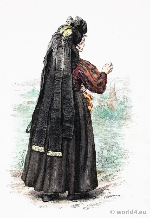 Traditional German national costume. Peasant woman folk dress from Thuringia. Franz Lipperheide