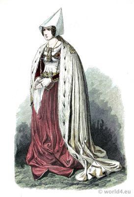 Patrician woman in Gothic costume. Burgundy fashion. Franz Lipperheide