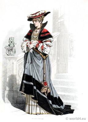 German Renaissance aristocracy costume. Franz Lipperheide. Medieval 16th century Noblewoman clothing