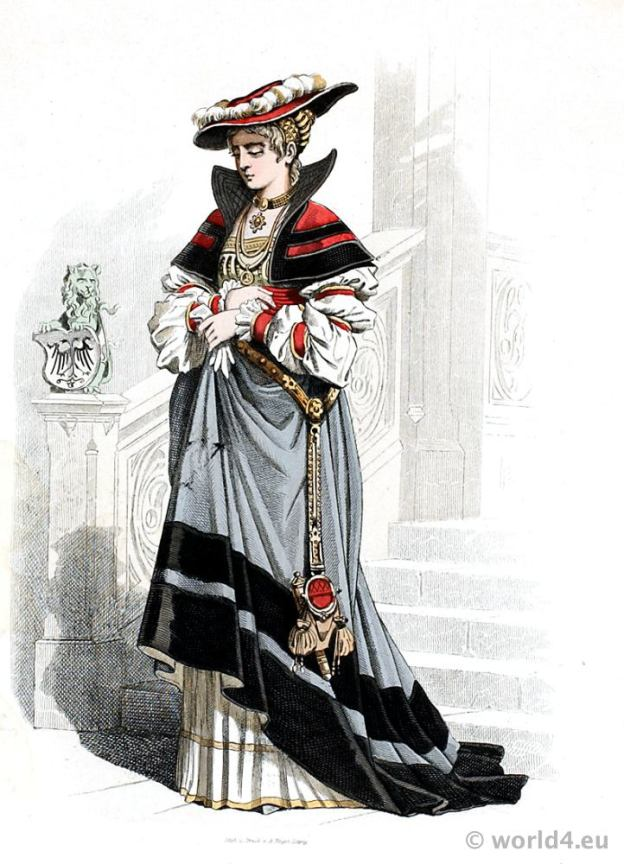 German Renaissance aristocracy costume. Franz Lipperheide. Medieval 16th century Noblewoman clothing