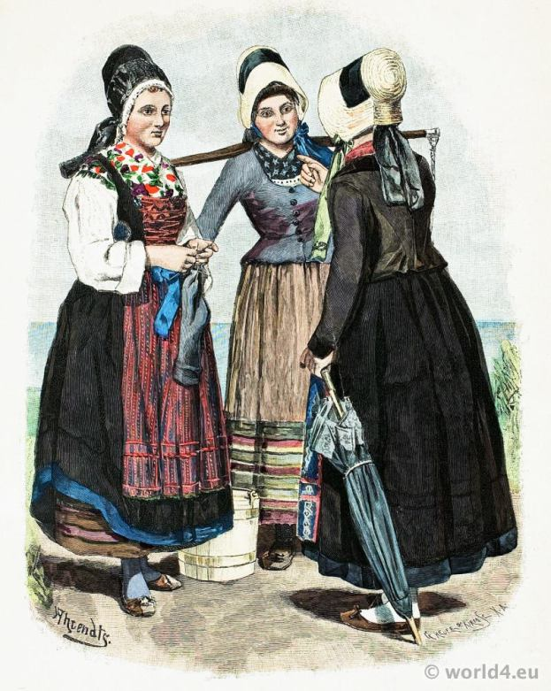 Traditional German national costume. Fishermen's wives folk dresses from the island of Rügen.