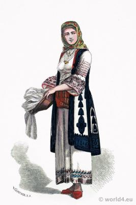 Historical, athen, costumes, Greece, national, dress, fashion history, GreekFranz Lipperheide