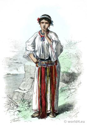 Traditional Wallachian costume. Orsova Hungary. Franz Lipperheide