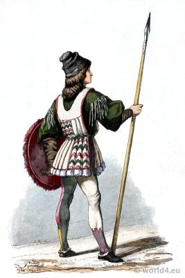 Italian Renaissance costume. Franz Lipperheide. 15th century soldier clothing
