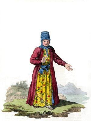 A Female Kyrgyz folk dress. Traditional Russian national costume
