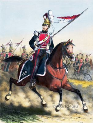 Lancer of the Royal Guard. French Army uniforms. France Military costumes.