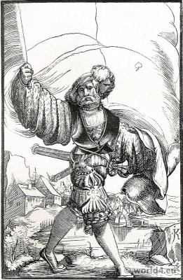 Renaissance military. Arms of the Holy-Empire. German Landsknechte 16th century.