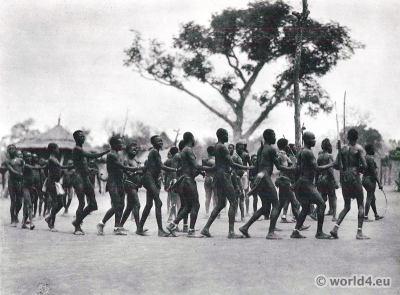 African dance. Moru tribe, South Sudan costume, tribals.