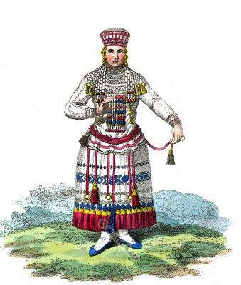 Traditional Mordavia folk dress. Moksha Mordva, Mordvinians, Traditional Russian national costume Tribe.