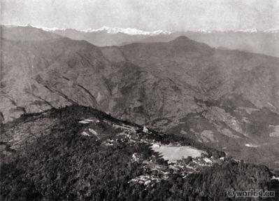 The Mall Road, Chowrasta. Lebong. Darjeeling India. View on Himalaya. J. Burlington Smith.
