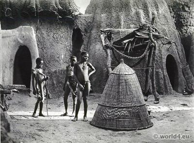 African tribe. Musgum. Shepherds. African architecture. Tribal Costume